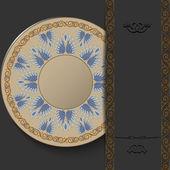 Stylish Greek round ornament on a dark background. Elegant vintage pattern. — Vettoriale Stock