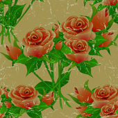 Seamless floral vintage aged pattern with roses. — Stock Vector