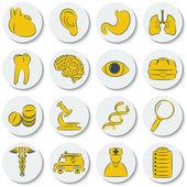 一套单位圆上医学学科的图标。黄、 白三色时尚的设计. — 图库矢量图片