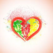 Watercolor heart on paint splattered background. Valentine background. — Vecteur
