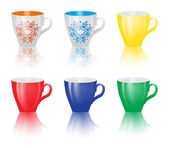 Set of colored cups isolated on white background. — Stock Vector