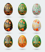 Set of nine colorful Easter eggs stylized Russian khokhloma pattern — Stock Vector
