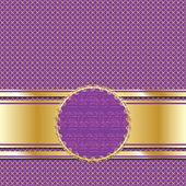 Ornate golden lilac background for presentation or greeting card. Vector illustration — Stock Vector