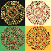 4 つの伝統的なロシア円形マンダラ パターン ホフロマのセット. — ストックベクタ