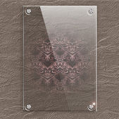 Glass plate on a leather background with translucent Victorian pattern. — Stock Vector