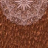 Parte de un adorno mandala circular sobre un fondo de corteza de árbol. tarjeta de felicitación de encaje. — Vector de stock