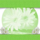 Flores verdes monocromáticas. elegante fondo claro. — Vector de stock