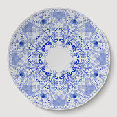 Blue round floral ornament applied to the ceramic plate. — Stock Vector