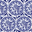 Blue seamless pattern in the style of Russian national pattern gzhel. Circular pattern mandala of flowers on a white background. — Stock Vector #44890403