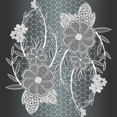 Seamless white floral lace ribbon. — Stock vektor