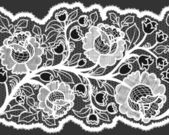 Abstract seamless white lace ribbon with feminine floral pattern. — Stock Vector