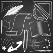 Elements made ??by hand with chalk on blackboard grange texture. — Stock Vector