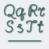 Letters Q R S T - handwritten alphabet of rope. — Stock Vector