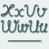 Letters U V W X - handwritten alphabet of rope. — Stock Vector
