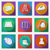Fashionable flat icons with long shadows cleaning theme. — Vettoriale Stock