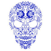 Skull decorated with blue pattern in Gzhel style on a white background. — Vettoriale Stock