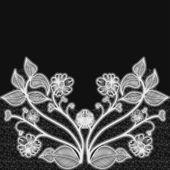 Tło z koronki białe kwiaty. na projekt kartki i zaproszenia ślubne. — Wektor stockowy