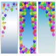 Set of greeting banners happy birthday with balloons. — Stock Vector #48214683