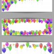 Set of greeting horizontal banners happy birthday with balloons. — Stock Vector #48215569