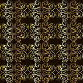 Vintage seamless pattern with golden curls in Victorian style. — Stock Vector
