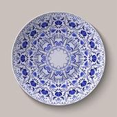 Rodada ornamento floral azul gzhel estilo. padrão mostrado na placa cerâmica. — Vetor de Stock