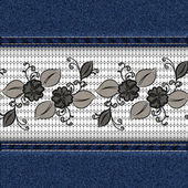 Denim horizontal background with black lace ribbon. — Vecteur