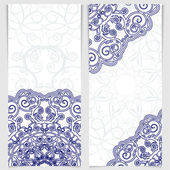 Set of greeting cards or invitations in the style of imitation Chinese porcelain painting. — Stock Vector