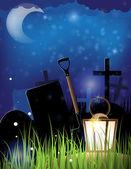 Cimitero di notte — Vettoriale Stock