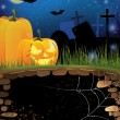 Royalty-Free Stock Vector Image: Terrible pumpkins on a night cemetery