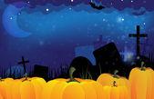 Cemetery and ripe pumpkins — 图库矢量图片