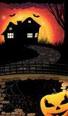 Halloween night scene — Stock Vector