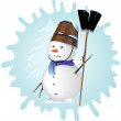 Snow man — Stock Vector