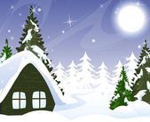 A small hut covered with snow — Vector de stock