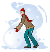 Boy rolls a snow clod — Stock Vector