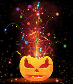 Pumpkin head and fireworks — Stock Vector