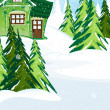 Green fairy house in winter forest — Stock Vector