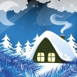 Night snow-covered hut — Stock Vector