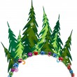 Fir forest with Christmas decorations — Vector de stock #14974115