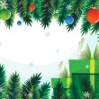 Gift boxes on background of fir branches — Vector de stock #14974243