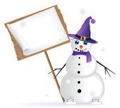 Snögubbe i en lila hatt — Stockvektor