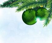 Adornos navideños y ramas de árbol de abeto — Vector de stock