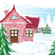 Vettoriale Stock : Pink fairy house in winter forest