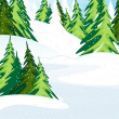 Snow covered pine forest - Stock Vector