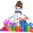 Snowman on a white background - Stock Vector
