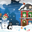 Snowman and a homeless cat — Stock Vector