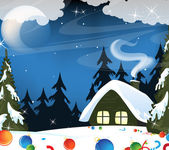 Forest hut and Christmas decorations — Stock Vector