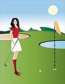 Dziewczynka golf gracz — Wektor stockowy