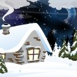 Brick house in a snowy forest — Stock Vector #16630563