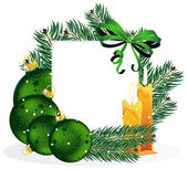 Kerst ornamenten en pine boomtakken. — Stockvector