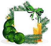 Navidad adornos y ramas de los árboles de pino. — Vector de stock